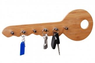schl sselbrett bambus 6 haken schl sselboard hakenleiste. Black Bedroom Furniture Sets. Home Design Ideas