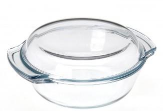 glas auflaufform 1 l rund mit deckel br ter sch ssel schale glasschale backform ebay. Black Bedroom Furniture Sets. Home Design Ideas