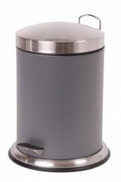 Stainless steel trash bin pedal bucket bathroom cosmetic for Dark grey bathroom bin