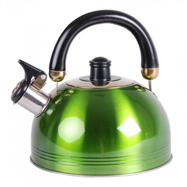 inox bouilloire sifflet 2 l chaudi re eau vert chauffe eau th i re pot ebay. Black Bedroom Furniture Sets. Home Design Ideas