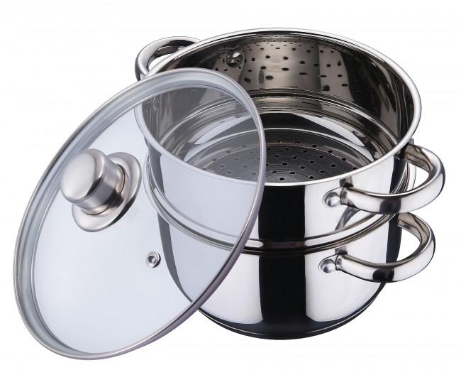 Edelstahl dampfgarer 3tlg topf dampfkocher deckel for Dampfgarer edelstahl