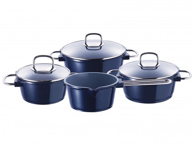 7 piezas bater a de cocina cer mica azul inducci n juego for Utensilios de cocina de ceramica