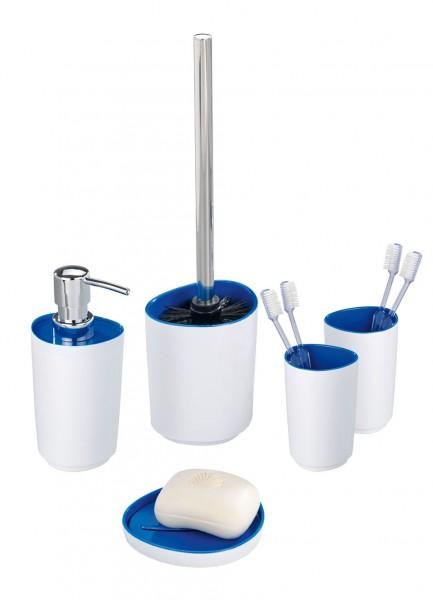 Accesorios De Baño Wenko:uds WENKO Alcamo Set de baño – Blanco / Azul – cepillo de baño