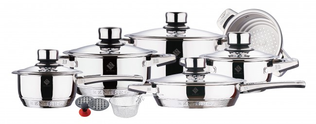 16 tlg inox batterie de cuisine induction koch casserole po le neuf. Black Bedroom Furniture Sets. Home Design Ideas