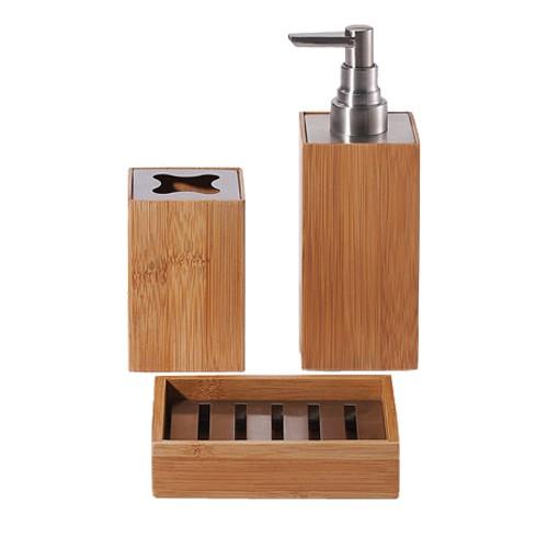 Set De Baño Bambu Dupree:pc Set de baño – KYOTO – Bambú – Jabonera – taza de cepillo de