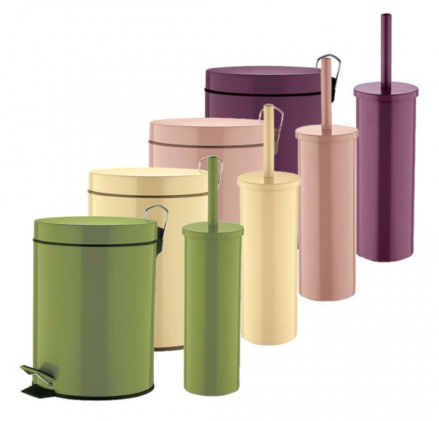 5 Liter Waste Bin And Toilet Brush Verona Olive Cream Umbra Or Purple Set Cosmetics Bucket