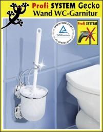wenko gecko wc garnitur mit oder ohne bohren m glich toilettenb rste klob rste halter f r. Black Bedroom Furniture Sets. Home Design Ideas