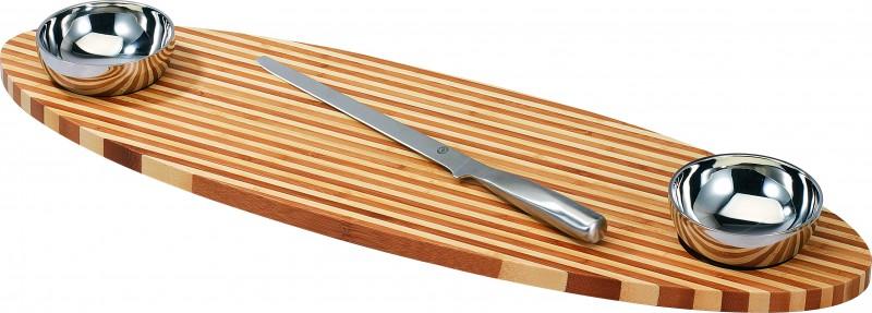 bambus fisch brett 2 schalen fischmesser fischbrett schneidebrett messer neu ebay. Black Bedroom Furniture Sets. Home Design Ideas