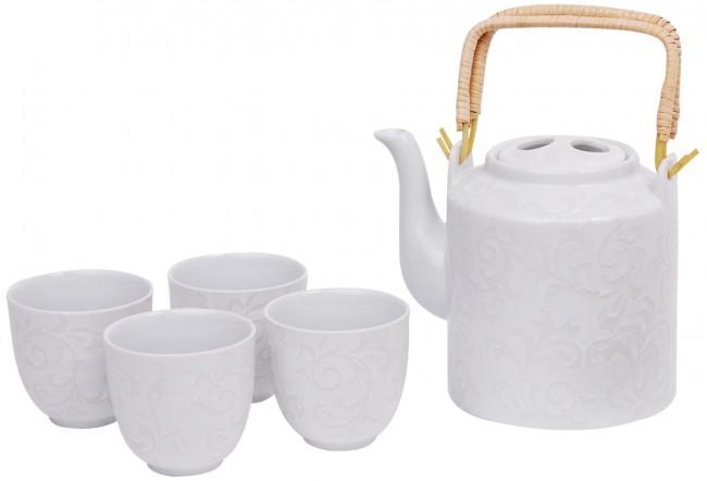 5 tlg tee set porzellan teekanne 4 tassen kaffeekanne kanne porzellankanne ebay. Black Bedroom Furniture Sets. Home Design Ideas