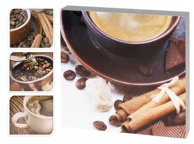4 wandbilder kaffee je 24x24 kunstdruck holzrahmen bild. Black Bedroom Furniture Sets. Home Design Ideas